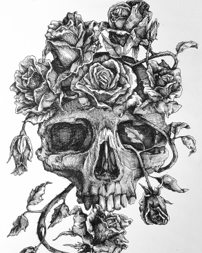 Skull with Crown of Rosess